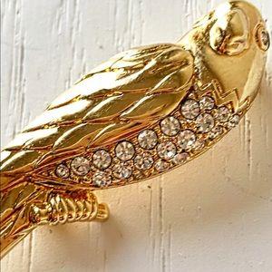 SAL SWAROVSKI CRYSTAL PARROT GOLD BIRD BROOCH PIN